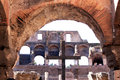 Cross in the Colosseum of Rome, Italy Stock Image