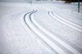 Cross Country Ski Tracks in Engadin Royalty Free Stock Photo