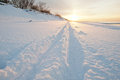 Cross country ski tracks at seaside Stock Photo