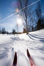 Cross Country Skiing Motion Stock Photo