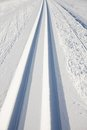 Cross country skiing tracks Royalty Free Stock Photo