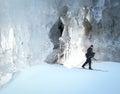 Cross county skiing ice cavern Royalty Free Stock Photo