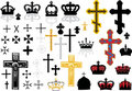 Cross and crowns set Stock Photography