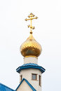 Cross on the dome russian christian church Stock Photos
