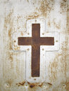 Cross on door background Royalty Free Stock Photo