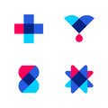 Cross, drop and DNA. Set of abstract medical or pharmacy logo