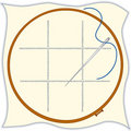 Cross embroidery hoop needle stitch threa Royaltyfri Bild