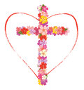 Cross with flowers and heart Royalty Free Stock Photo