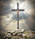 Cross on the golgotha jesus christ easter metaphor Royalty Free Stock Photos