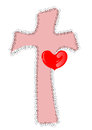 Cross with hearth made in d software Royalty Free Stock Photo