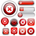 Cross high-detailed web button collection. Royalty Free Stock Photo