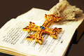Cross on Holy Bible Royalty Free Stock Photography