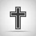 Cross icon with shadow on a gray background. Vector illustration