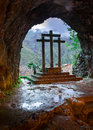 Cross inside the Holy Cave of Covadonga Royalty Free Stock Photo