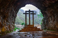 Cross inside the Holy Cave of Covadonga II Royalty Free Stock Photo