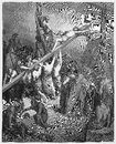 The cross is lifted up with jesus picture from holy scriptures old and new testaments books collection published in stuttgart Stock Images