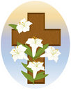 Cross and Lilies Royalty Free Stock Image