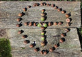 Cross made of acorns encircled a within a circle laying on an old board Royalty Free Stock Photos