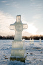 Cross made of ice Royalty Free Stock Photo