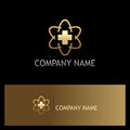 Cross medic hospital technology gold logo
