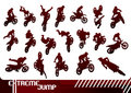 Cross motorcycles silhouettes Royalty Free Stock Images