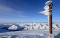 Cross on mountain musala in winter Stock Photography