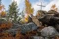 Cross on mountain stones Royalty Free Stock Photo