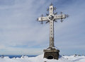 Cross at mountain top in clear winter day russia siberia Stock Photography