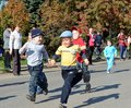 Cross nation russia children run city kanash Stock Photo