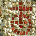 Cross and orb the globus cruciger or mosaic art made with red tiles against a stone background Stock Image
