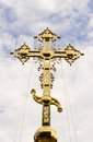 Cross orthodox on the high dome of a temple Stock Image