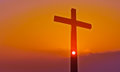 Cross over beautiful sunset background with Copy Space Royalty Free Stock Photo