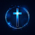 Cross over mesh glowing circle Royalty Free Stock Photo
