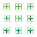 Cross plus medical pharmacy green logo icons Royalty Free Stock Photo