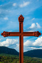 The cross red in tiradentes minas gerais brazilo Royalty Free Stock Photos