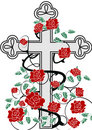 Cross with roses Royalty Free Stock Photos