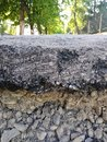 Cross section of asphalt, repair work of the pavement, street, mobile photo