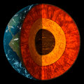 Cross-Section Of Planet Earth - Illustration Royalty Free Stock Photo