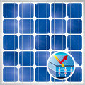 Cross section of a solar cell on photovoltaic solar panel module background - Renewable Energy Royalty Free Stock Photo