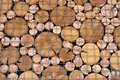 A pattern from the ends of wooden beams of circular cross-section. Royalty Free Stock Photo