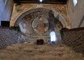 Cross shadow inside italian romanesque church Royalty Free Stock Images