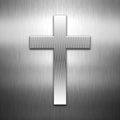 Cross shape on a brushed metal background metallic Royalty Free Stock Photography