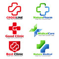 Cross sign for Medical clinic and Natural care logo vector set design Royalty Free Stock Photo