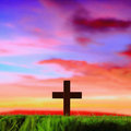 Cross silhouette in sunset Royalty Free Stock Photo