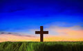 Cross silhouette with sunset background Royalty Free Stock Photo