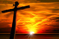 Cross Silhouette at the Sunset Royalty Free Stock Photo