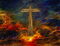 Cross in sky with biblical text Royalty Free Stock Photography