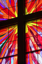 Cross in Stained Glass Window Royalty Free Stock Photo