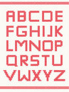 Cross stitch alphabet Stock Images