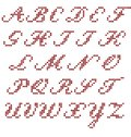 Cross stitch alphabet italic capital letters vector Stock Images